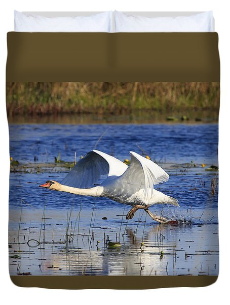 Duvet Cover featuring the photograph Walking On Water by Gary Hall