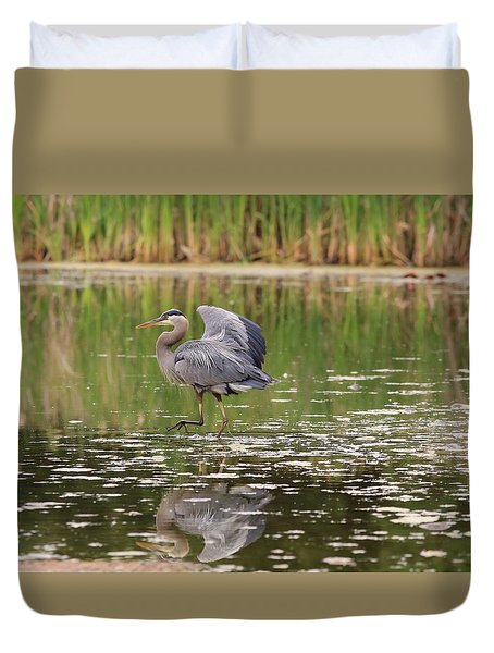 Duvet Cover featuring the photograph Walking On Water by Lynn Hopwood