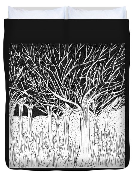 Walking Out Of The Woods Duvet Cover