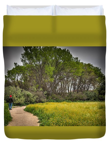 Walking Path In Tall Oak Trees In Spring Duvet Cover