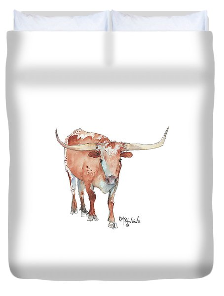 Walking Tall Texas Longhorn Watercolor And Ink By Kmcelwaine Duvet Cover