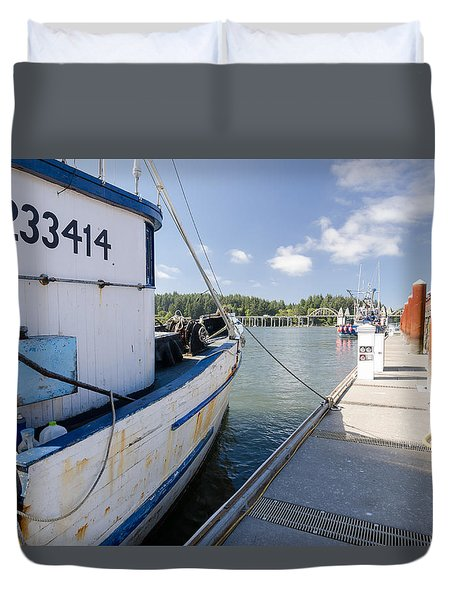 Walking The Docks Duvet Cover