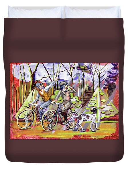 Walking The Dog 1 Duvet Cover by Mark Jones