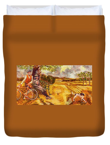 Walking The Dog After Gainsborough Duvet Cover by Mark Jones