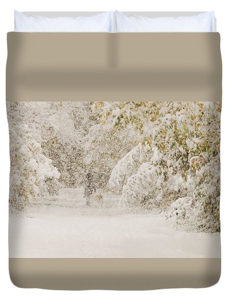 Walking The Dog Duvet Cover