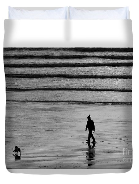 Duvet Cover featuring the photograph Walking The Dog At Marazion by Brian Roscorla