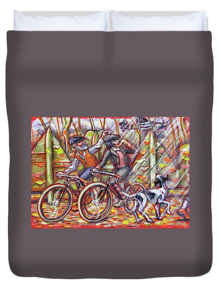 Walking The Dog 2 Duvet Cover by Mark Jones