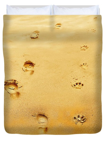Walking The Dog Duvet Cover by Mal Bray