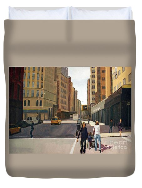 Walking The Lines Duvet Cover