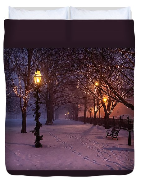 Walking The Path On Salem Common Duvet Cover by Jeff Folger