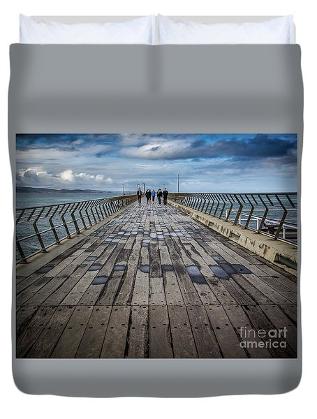 Duvet Cover featuring the photograph Walking The Pier by Perry Webster