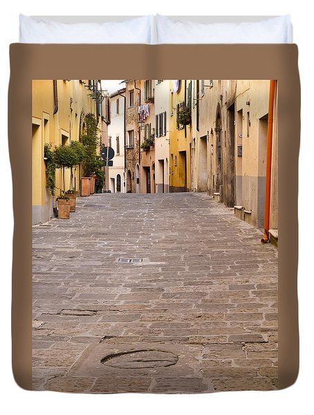 Walking Through Montepulciano Duvet Cover by Rae Tucker
