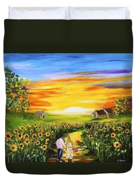Walking Through The Sunflowers Duvet Cover