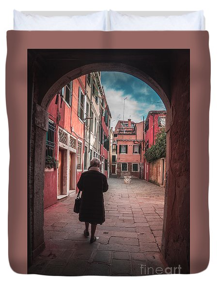 Walking Through Time - Venice, Italy Duvet Cover