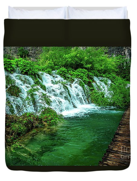 Walking Through Waterfalls - Plitvice Lakes National Park, Croatia Duvet Cover