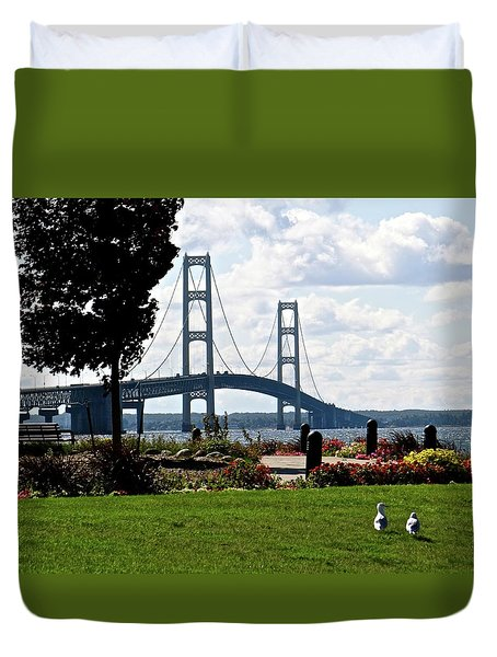Walking To The Bridge Duvet Cover