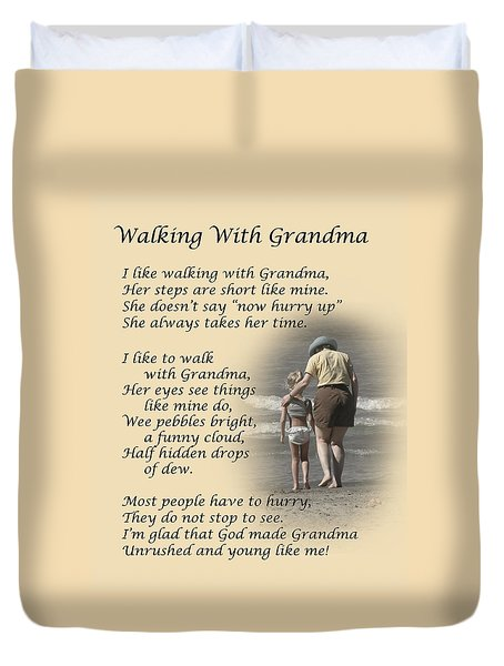 Walking With Grandma Duvet Cover