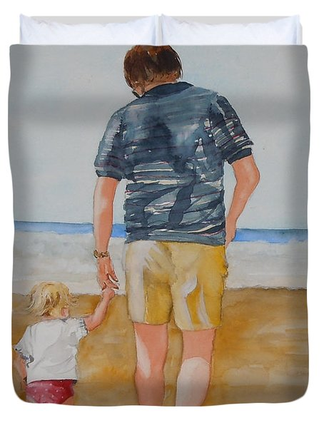 Walking With Pops Duvet Cover by Jean Blackmer