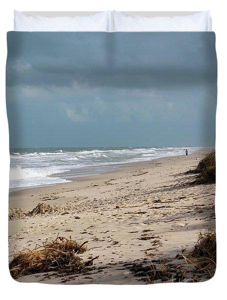 Walks On The Beach Duvet Cover by Megan Dirsa-DuBois