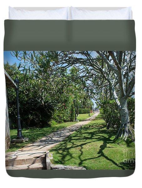 Walkway In Bermuda Duvet Cover
