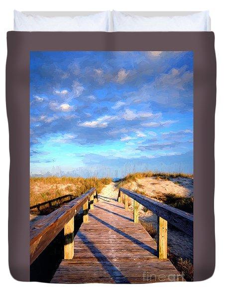 Duvet Cover featuring the digital art Walkway On Pine Painted by Linda Olsen