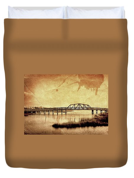 Walkway Over The Sound, Topsail Beach, North Carolina Duvet Cover