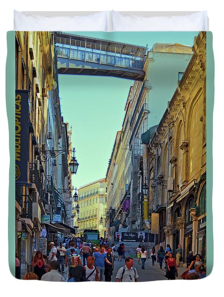 Duvet Cover featuring the photograph Walkway Over The Street - Lisbon by Mary Machare