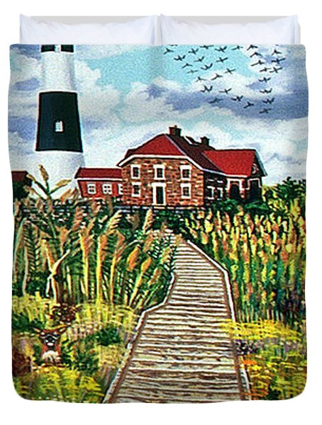 Walkway To Fire Island Lighthouse Duvet Cover