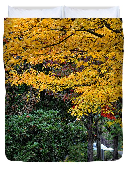 Walkway Under A Canopy Of Yellow Duvet Cover