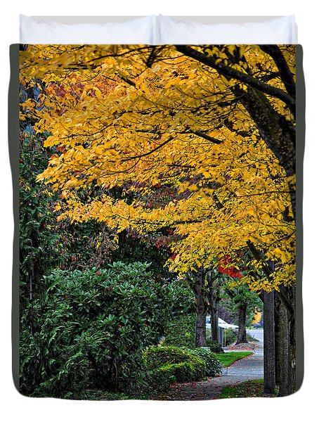 Duvet Cover featuring the photograph Walkway Under A Canopy Of Yellow by Kirt Tisdale
