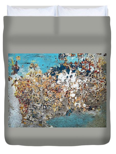 Wall Abstract 106 Duvet Cover by Maria Huntley