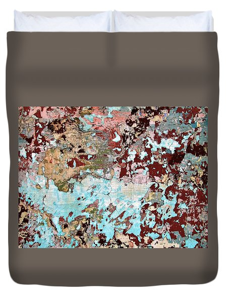 Wall Abstract 128 Duvet Cover by Maria Huntley