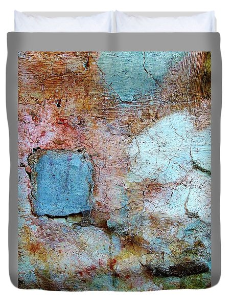 Wall Abstract 138 Duvet Cover by Maria Huntley