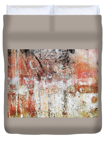 Wall Abstract  183 Duvet Cover by Maria Huntley
