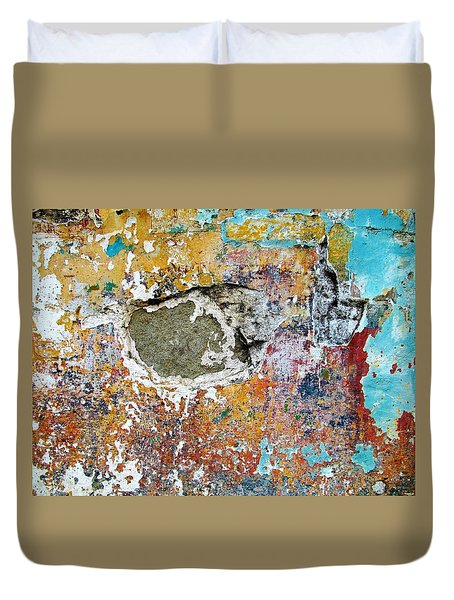 Wall Abstract 196 Duvet Cover by Maria Huntley