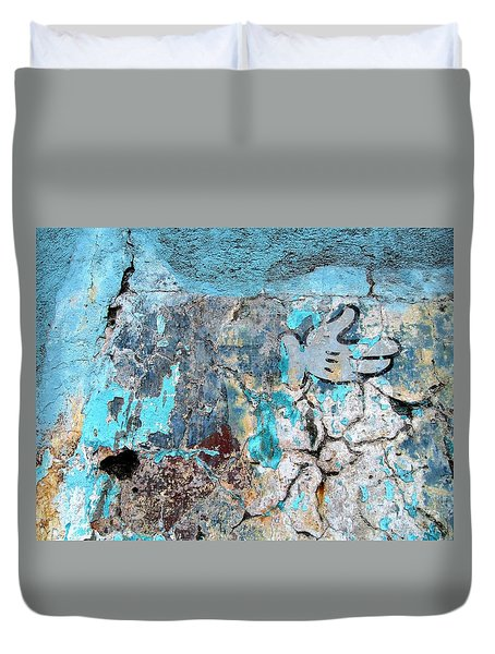 Wall Abstract 211 Duvet Cover by Maria Huntley