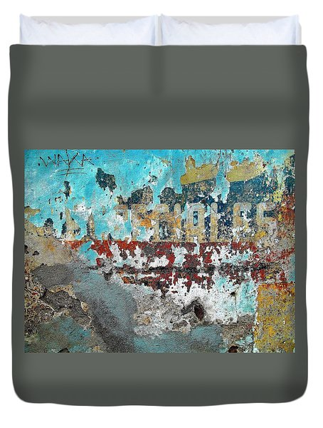 Wall Abstract 98 Duvet Cover by Maria Huntley