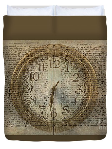 Duvet Cover featuring the digital art Wall Clock And Book Double Exposure by Randy Steele