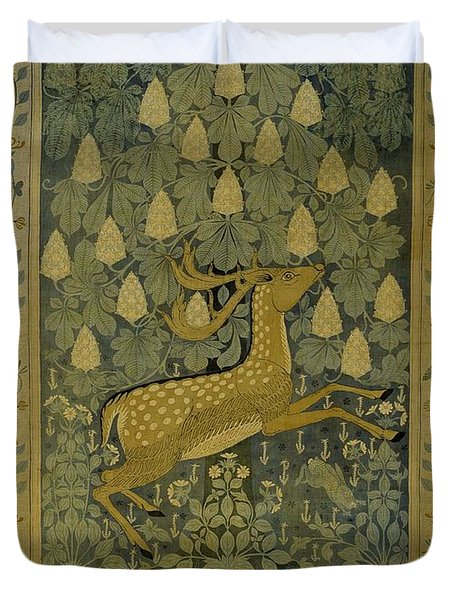 Wall Cloth With Jumping Deer Against A Background Of Flowering Chestnuts, Willem Karel Rees, C. 1902 Duvet Cover
