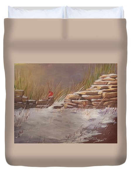 Wall In Winter Duvet Cover