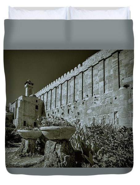 Wall Of Cave Of The Patriarchs Duvet Cover