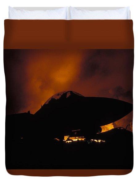 Wall Of Fire Duvet Cover by John Clark