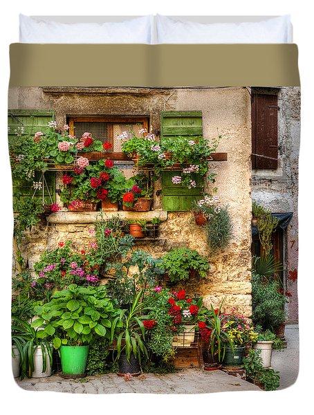 Wall Of Flowers Duvet Cover