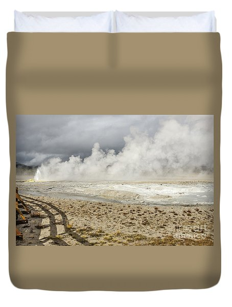 Duvet Cover featuring the photograph Wall Of Steam by Sue Smith