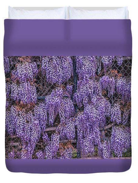 Wall Of Wisteria Duvet Cover