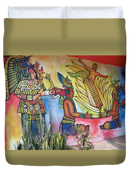Duvet Cover featuring the photograph Wall Painting In A Mexican Village by Dianne Levy