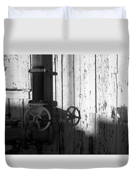 Wall Pipe Shadows Duvet Cover