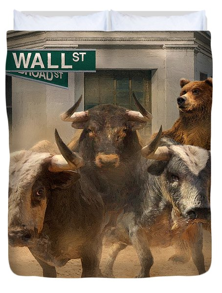 Wall Street -- Bull And Bear Markets Duvet Cover