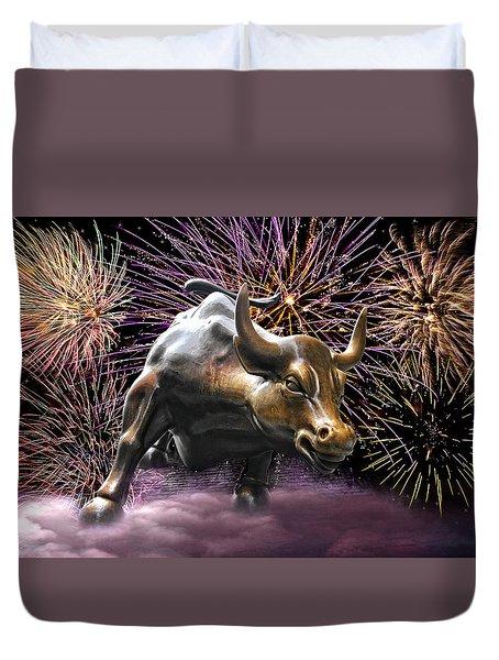 Wall Street Bull Fireworks Duvet Cover