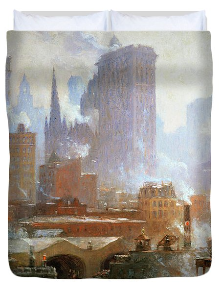 Wall Street Ferry Ship Duvet Cover by Colin Campbell Cooper